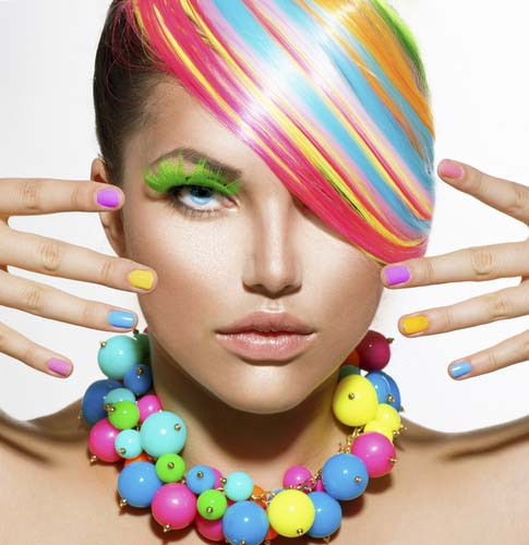 Beauty- hot cute sexy Girl-Portrait-with-Colorful-Makeup-Hair-Nail-polish-and-Accessories