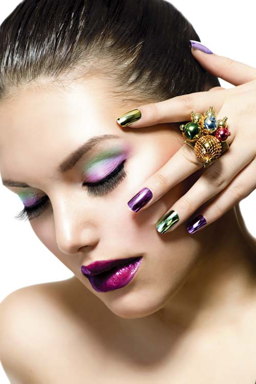 Woman-With-Colorful-Nails-and-Luxury-Makeup hot cute sexy