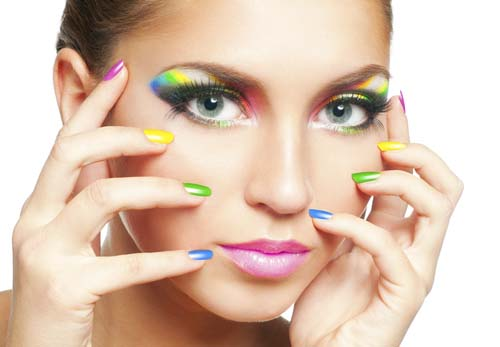 Woman-face-with-rainbow-makeup-and-manicure hot cute sexy