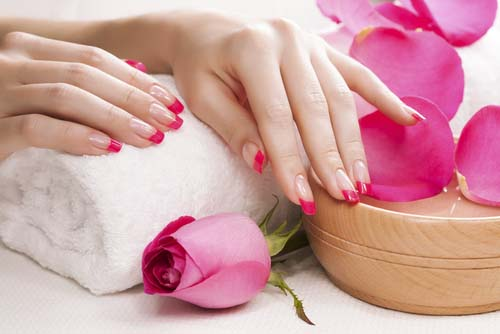 female-hands-with-fragrant-rose-petals-and-towel pink nail