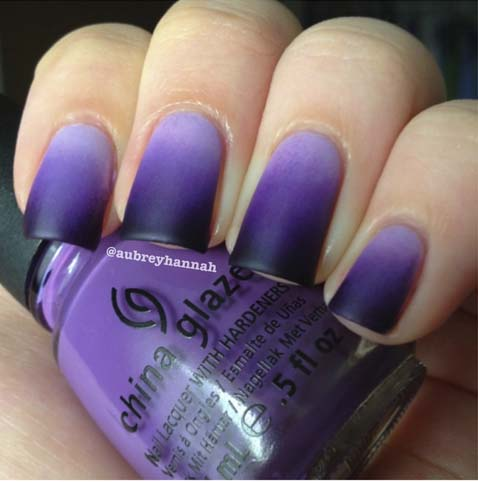 how to put Black-and-Purple-Matte-Nails