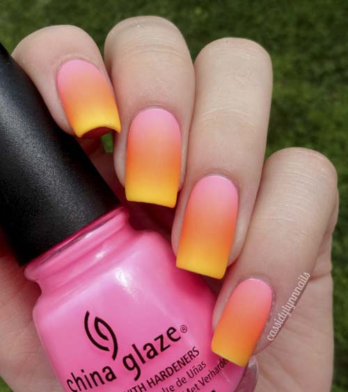 how to put Ombre-Matte-Nails