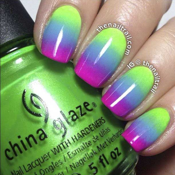 nail art tri color