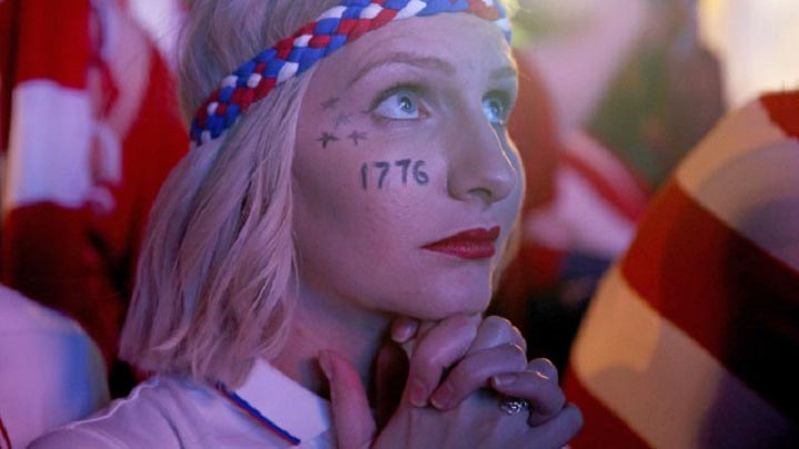 1776 tatto on a women cheek Lovely Expressions at fifa 2014 World cup