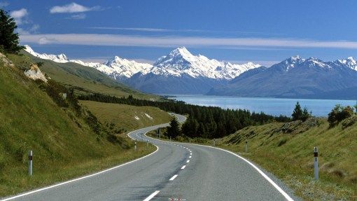 Road To Magnificent Mount Cook New Zeal HD Desktop Background