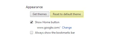how to Reset Default Theme in chrome browser